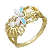 Кольцо, желтое и белое золото, 585 проба, ромашка, сердечки, стрекоза