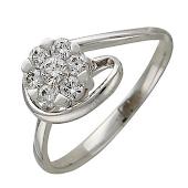 Кольцо с бриллиантом и золотой петлей помолвочное, белое золото 585 пробы