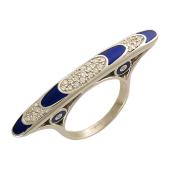 Кольцо Экстравагантное с бриллиантами и темно-синей эмалью, белое золото 750 проба