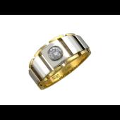 Кольцо мужское, бриллиант, желтое и белое золото 750 пробы