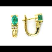 Серьги с овальными изумрудами и бриллиантами, желтое золото 750 пробы