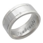 Обручальное кольцо, белое золото, 585 пробы, бриллиант, широкая шинка, две канавки на них бриллианты в шахматном порядке