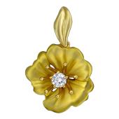 Кулон Кувшинка с бриллиантом, желтое золото 585 проба