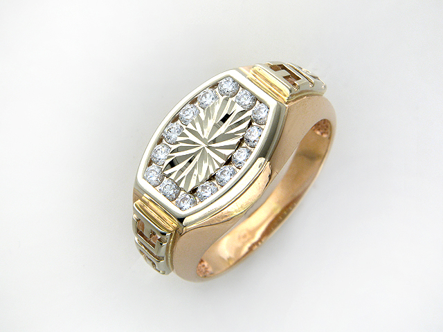 Мужское кольцо с фианитами, алмазными гранями и греческим рисунком, красное и белое золото 585 пробы