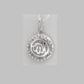 Кулон мусульманский в круге с фианитами из серебра
