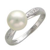 Кольцо с крупным жемчугом и дорожкой фианитов по бокам, белое золото