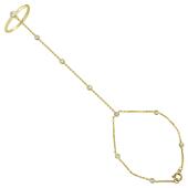 Браслет Панье с кольцом и бриллиантами, желтое золото