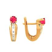 Серьги Дорожка с бриллиантами и рубином, красное золото 585 проба