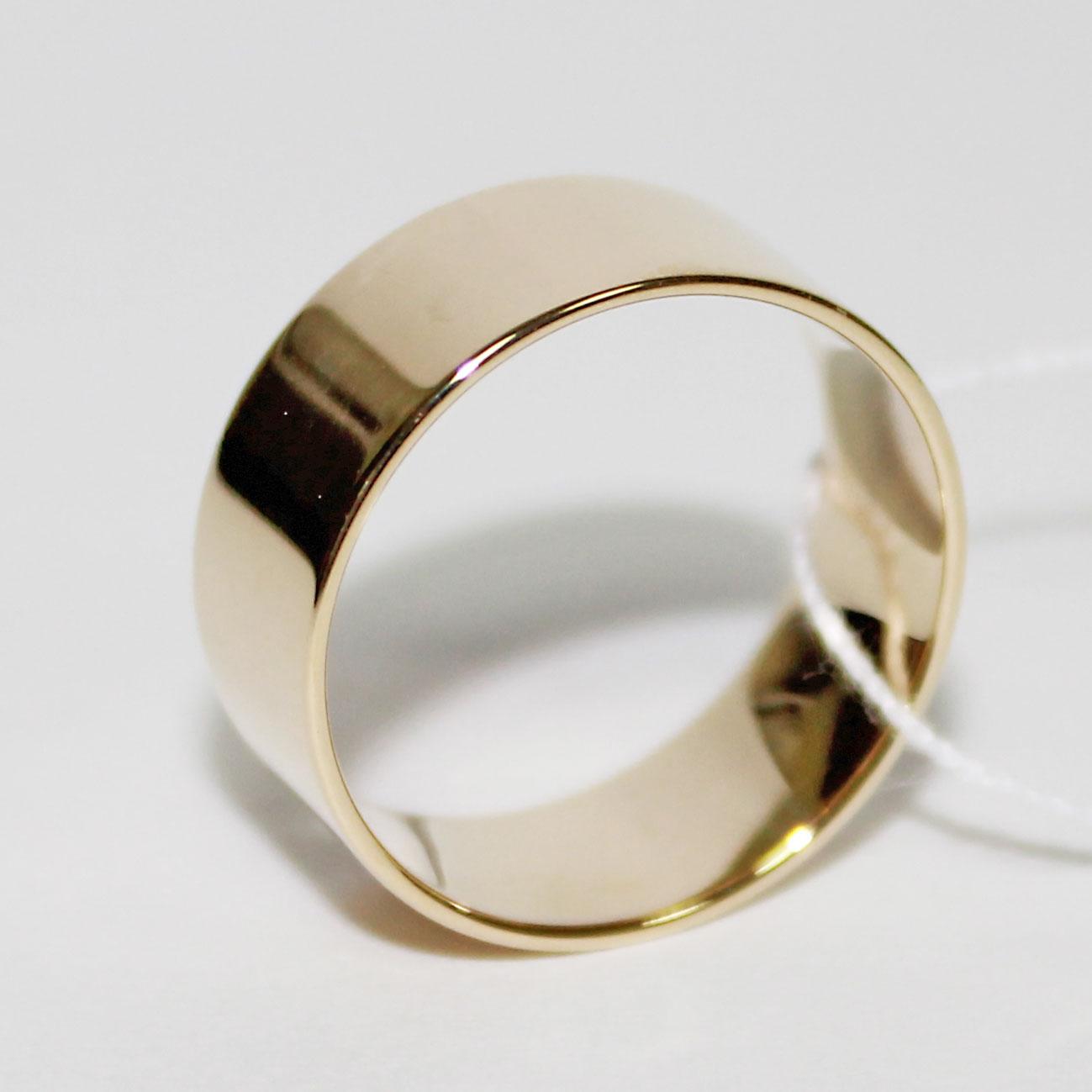 Обручальное кольцо широкое 8 mm, желтое золото 585 пробы 3a0b671850f