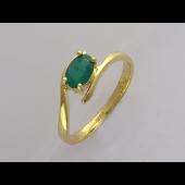 Кольцо с овальным изумрудом, желтое золото 750 проба