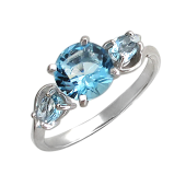 Кольцо с тремя топазами, серебро