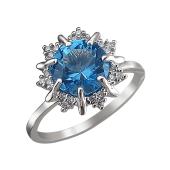 Кольцо Звезда с нанотопазом (гранатом) и фианитами, серебро