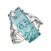 Кольцо Сова с топазом (турмалином), серебро