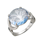 Кольцо Дерево с нанотопазом и фианитами, серебро