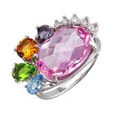 Кольцо с аметистом, цитрином, топазом, хризолитом и розовым фианитом, серебро