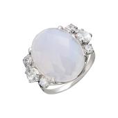 Кольцо с опаловым алпанитом и фианитами, серебро