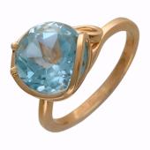Кольцо с большим круглым камнем (гранат, раухтопаз, топаз, аметист), красное золото