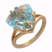 Кольцо с большим треугольным камнем (раухтопаз, топаз), красное золото