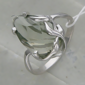Кольцо с празиолитом (аметистом) из серебра