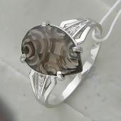 Кольцо с раухтопазом, серебро