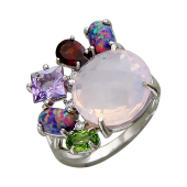 Кольцо с опалом, гранатом, цитрином, аметистом и алпанитом, серебро