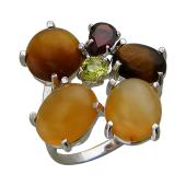 Кольцо с авантюрином, агатом, гранатом, сердоликом и цитрином, серебро