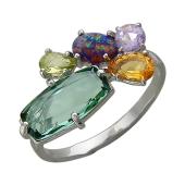 Кольцо с опалом, аметистом, празиолитом, хризолитом, цитрином, серебро