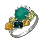 Кольцо с опалом, аметистом, ониксом, хризолитом, цитрином и фианитами, серебро