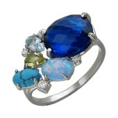 Кольцо с опалом, аметистом, топазом Лондон нано, бирюзой и фианитами, серебро