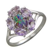 Кольцо с опалом и топазами, серебро