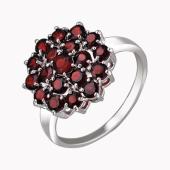 Кольцо с гранатами, серебро