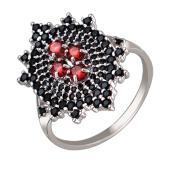 Кольцо Сердце Вулкана с гранатом и черными фианитами, серебро