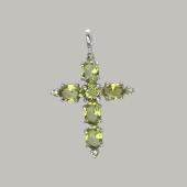 Крест с нанохризолитом (сапфиром), серебро
