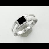 Кольцо мужское с прямоугольником с чёрной эмалью, серебро