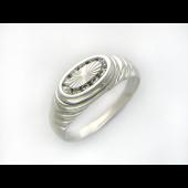 Кольцо мужское с фианитами в овале, серебро