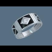 Кольцо мужское Ромбы с фианитом и черной эмалью, серебро
