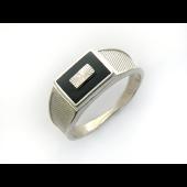 Кольцо мужское с чёрной эмалью и алмазными гранями, серебро