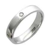 Обручальное кольцо с пятью бриллиантами, белое золото 585 пробы, бриллиант, насечки по краям