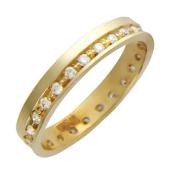 Обручальное кольцо с 29 бриллиантами по краю, красное золото 3.5мм