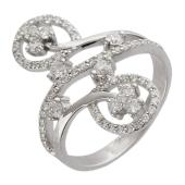 Кольцо Узоры с бриллиантами, белое золото 750 проба