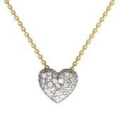 Колье декоративное Сердце с фианитами из белого золота на якорной цепи из желтого золота