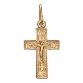 Крест православный с прямыми углами, красное золото 21.4 мм