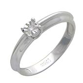 Кольцо с одним бриллиантом, белое золото