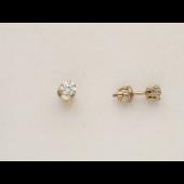 Серьги-гвоздики с круглыми фианитами, белое золото 585 пробы