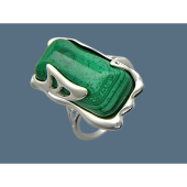 Кольцо с малахитом (янтарем), серебро