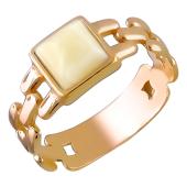Кольцо якорное с янтарем из серебра с позолотой