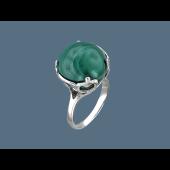 Кольцо Шар с малахитом (или бирюзой), серебро