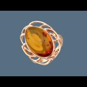 Кольцо с овальным янтарем, серебро с позолотой