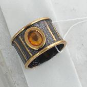 Кольцо Пенёк с малахитом (нефритом), серебро с чернением и позолотой