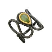 Кольцо Косы с малахитом (нефритом), серебро с позолотой и чернением